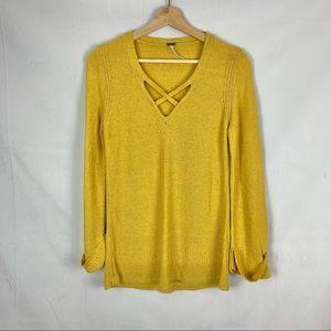 FREE PEOPLE Criss Cross Sweater Mustard Sz S